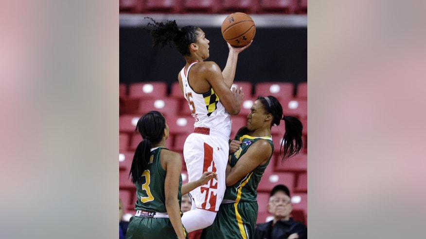 Maryland forward Alyssa Thomas, center, goes up for a shot between Siena guard Brianna Logan, left, and forward Symone Kelly in the first half of an NCAA college basketball game in College Park, Md., Monday, Dec. 9, 2013. (AP Photo/Patrick Semansky)