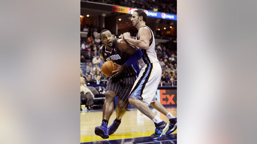 Memphis Grizzlies' Kosta Koufos, right, defends against Orlando Magic's Glen Davis in the first half of an NBA basketball game in Memphis, Tenn., Monday, Dec. 9, 2013. (AP Photo/Danny Johnston)