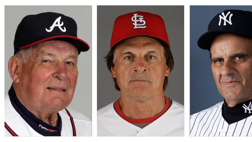 FILE - From left are Atlanta Braves manager Bobby Cox in 2010, St. Louis Cardinals manager Tony La Russa in 2011 and New York Yankees manager Joe Torre in 2007.  Cox,La Russa and Torre were among the candidates considered by the Hall of Fame's expansion era committee in voting scheduled to be announced Monday, Dec. 9, 2013. The trio of retired managers was joined on the 12-man ballot by a pair of much-debated figures who died in recent years: New York Yankees owner George Steinbrenner and pioneering players' union head Marvin Miller.  (AP Photo/File)