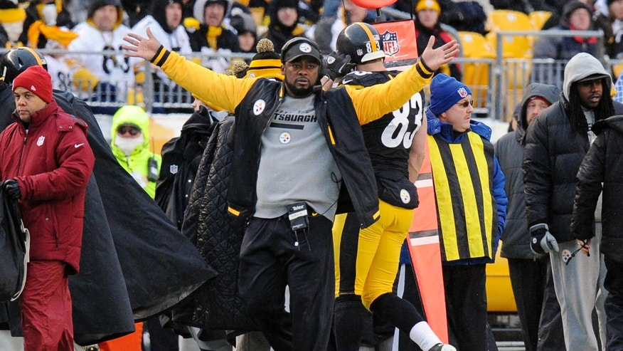 Pittsburgh Steelers head coach Mike Tomlin questions an official during the second half of an NFL football game against the Miami Dolphins in Pittsburgh, Sunday, Dec. 8, 2013. The Dolphins won 34-28. (AP Photo/Don Wright)