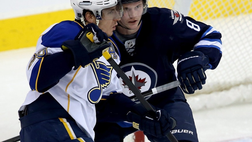 St. Louis Blues' Alexander Steen (20) and Winnipeg Jets' Jacob Trouba (8) battle in front of the Jets net during first period NHL hockey action in Winnipeg,  Manitoba, Tuesday, Dec. 10, 2013. (AP Photo/The Canadian Press, Trevor Hagan)