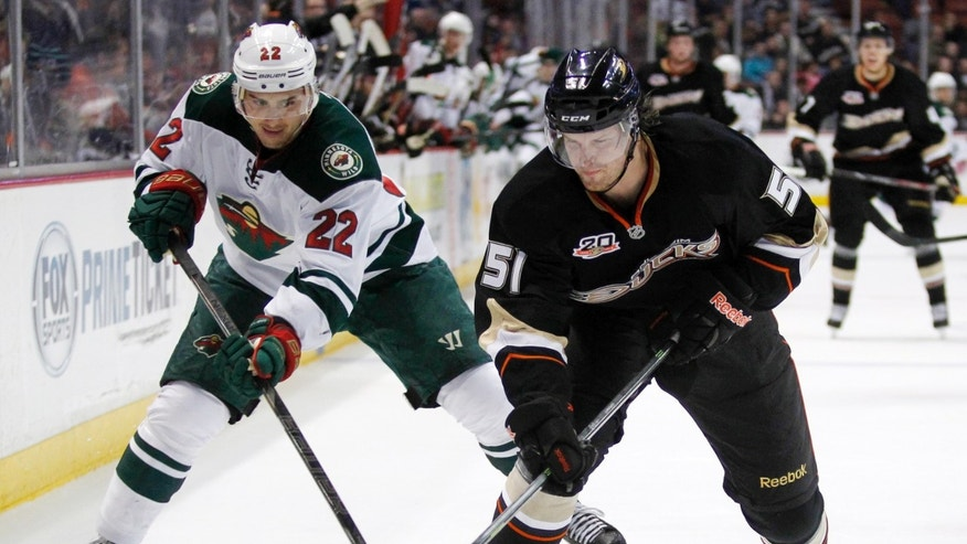 Anaheim Ducks defenseman Alex Grant (51) battles Minnesota Wild right wing Nino Niederreiter (22), of Switzerland for the puck in the first period of an NHL hockey game Wednesday, Dec. 11, 2013 in Anaheim, Calif.  (AP Photo/Alex Gallardo)