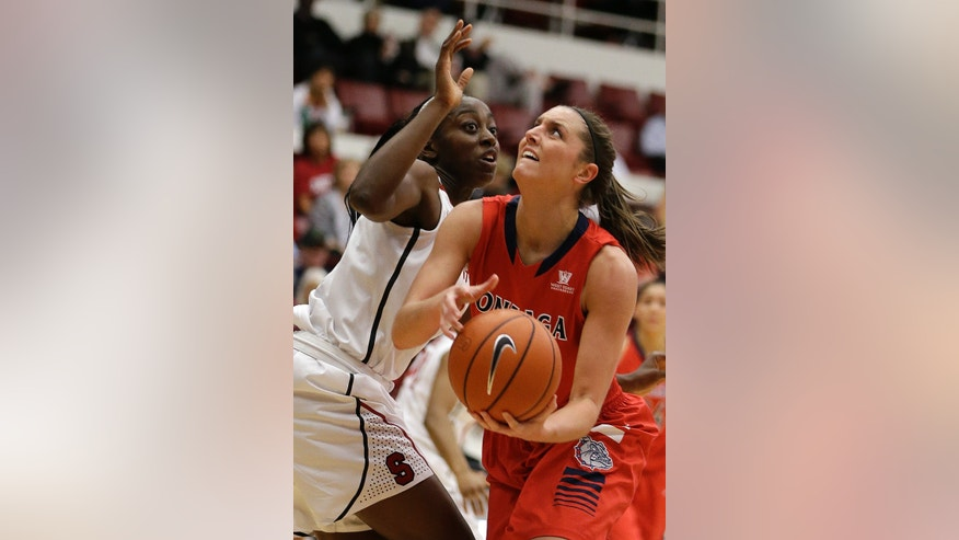 Gonzaga's Kiara Kudron, right, looks to shoot against Stanford's Chiney Ogwumike during the first half of an NCAA college basketball game on Saturday, Dec. 14, 2013, in Stanford, Calif. (AP Photo/Ben Margot)