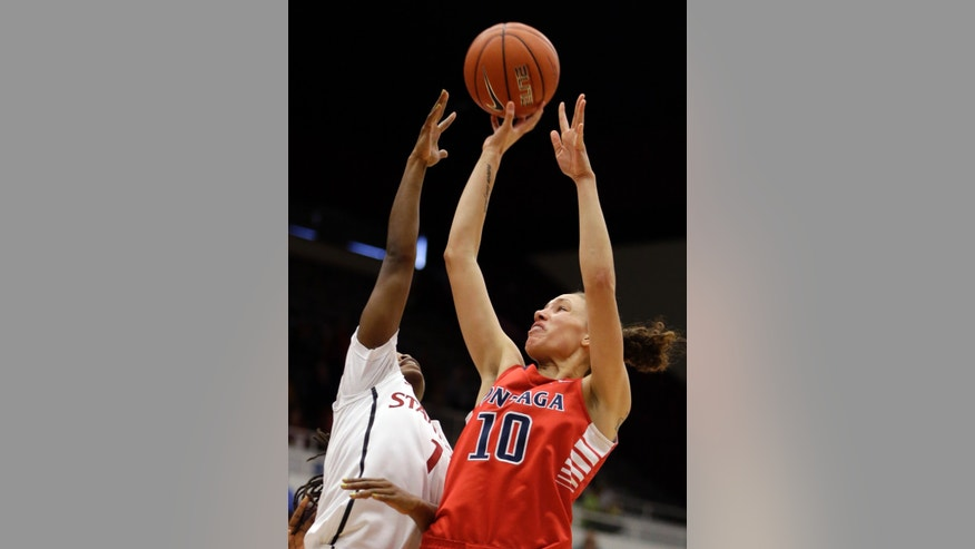 Gonzaga's Danielle Walter (10) shoots over Stanford's Lili Thompson during the first half of an NCAA college basketball game on Saturday, Dec. 14, 2013, in Stanford, Calif. (AP Photo/Ben Margot)
