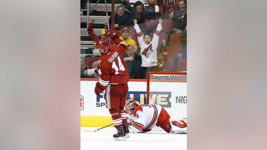 Phoenix Coyotes' Jeff Halpern (14) celebrates a goal by teammate Paul Bissonnette against Carolina Hurricanes' Justin Peters (35) during the first period of an NHL hockey game, Saturday, Dec. 14, 2013, in Glendale, Ariz. (AP Photo/Ross D. Franklin)