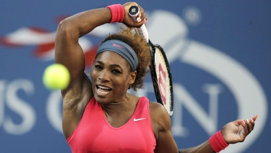 FILE - In this Sept. 8, 2013, photo, Serena Williams, of the United States, returns a shot to Victoria Azarenka, of Belarus, during the women's singles final of the U.S. Open tennis tournament in New York. (AP Photo)
