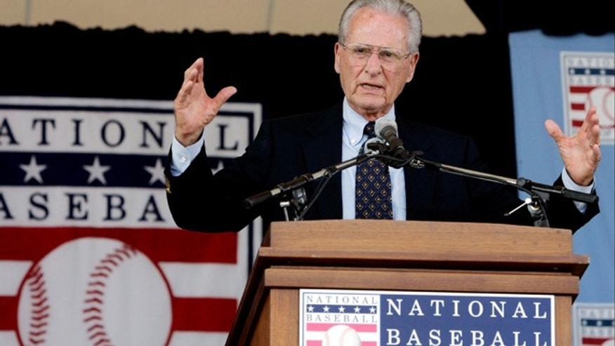July 31, 2005: San Diego Padres broadcaster Jerry Coleman speaks after he was given the Ford C. Frick award during ceremonies at the National Baseball Hall of Fame in Cooperstown, N.Y.