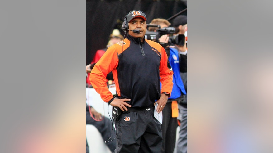 Cincinnati Bengals head coach Marvin Lewis looks on from the sideline in the first half of an NFL wild-card playoff football game against the San Diego Chargers, Sunday, Jan. 5, 2014, in Cincinnati. (AP Photo/Tom Uhlman)