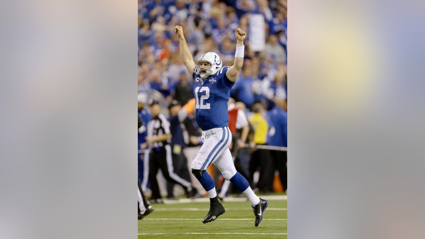 Indianapolis Colts quarterback Andrew Luck (12) celebrates after throwing a touchdown pass against the Kansas City Chiefs during the second half of an NFL wild-card playoff football game Saturday, Jan. 4, 2014, in Indianapolis. (AP Photo/Michael Conroy)