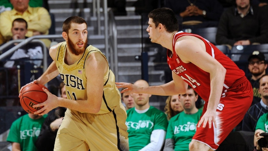 Notre Dame center Garrick Sherman, left, posts up against North Carolina State center Jordan Vandenberg in the first half of an NCAA college basketball game, Tuesday, Jan. 7, 2014, in South Bend, Ind. (AP  Photo/Joe Raymond)