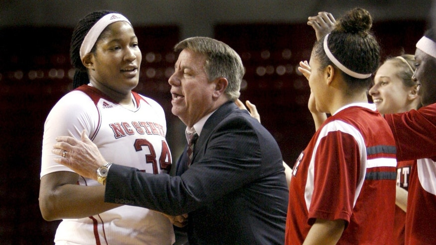 In this Dec. 8, 2013 photo, North Carolina State women's NCAA college basketball head coach Wes Moore, center, congratulates senior center Markeisha Gatling, left, during a time out in their  91-51 victory over  Elon, at Reynolds Coliseum in Raleigh, N.C. First-year coach Moore has the North Carolina State women's program ranked again for the first time since the end of the 2006-07 season. (AP Photo/The News & Observer, Corey Lowenstein) MANDATORY CREDIT
