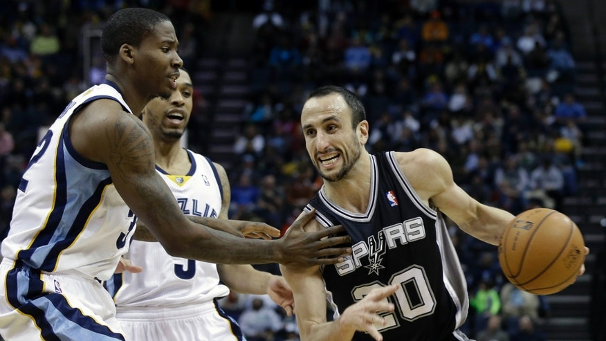 San Antonio Spurs' Manu Ginobili (20), of Argentina, drives past Memphis Grizzlies' Ed Davis, left, and Courtney Lee, center, in the second half of an NBA basketball game in Memphis, Tenn., Tuesday, Jan. 7, 2014. The Spurs defeated the Grizzlies 110-108 in overtime. (AP Photo/Danny Johnston)