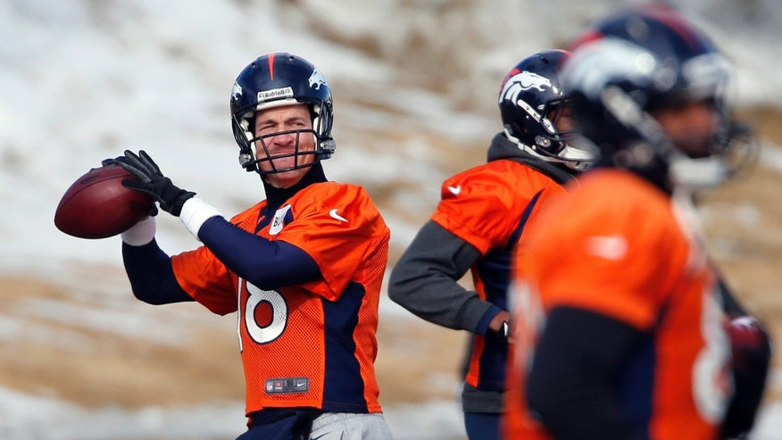 Denver Broncos quarterback Peyton Manning (18) throws during practice for the football team's NFL playoff game against the San Diego Chargers at the Broncos training facility in Englewood, Colo., on Friday, Jan. 10, 2014. (AP Photo/Ed Andrieski)