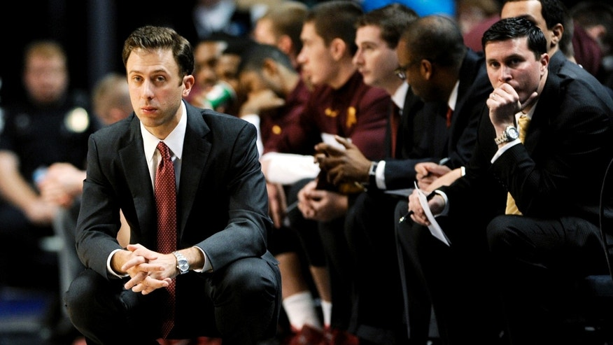 Minnesota coach Richard Pitino watches his players against Penn State during an NCAA college basketball game Wednesday, Jan. 8, 2014, in State College, Pa. Minnesota won 68-65. (AP Photo/Centre Daily Times, Abby Drey) MANDATORY CREDIT  MAGS OUT