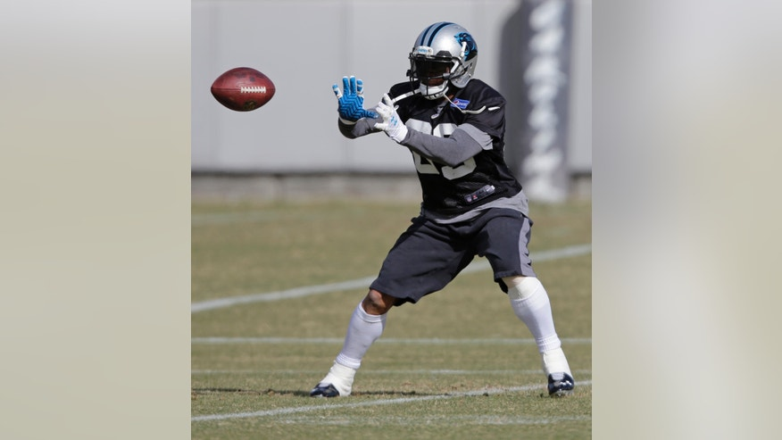 Carolina Panthers receiver Steve Smith reaches for a catch during an NFL football practice in Charlotte, N.C., Thursday, Jan. 9, 2014. Smith and running back Jonathan Stewart are returning from injuries. The Panthers face the San Francisco 49ers in an NFC Divisional playoff game on Sunday. (AP Photo/Chuck Burton)