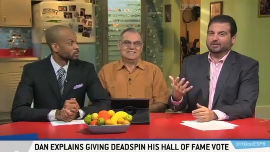 "Dan Le Batard (right) on the ESPN2 show ""¿Highly Questionable?"" with co-hosts Bomani Jones (right) and Le Batard's father, Gonzalo."