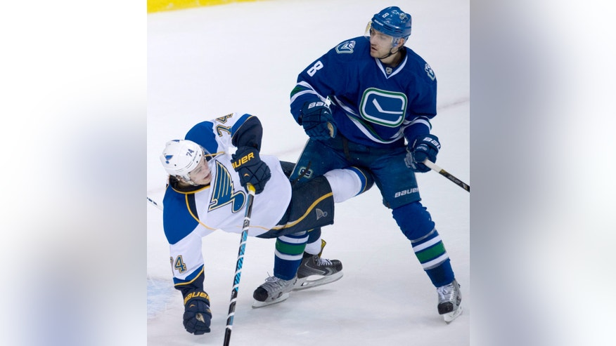 Vancouver Canucks defenseman Chris Tanev (8) fights for control of the puck with St. Louis Blues right wing T.J. Oshie (74) during the second period of an NHL hockey game Friday, Jan. 10, 2014, in Vancouver, British Columbia. (AP Photo/The Canadian Press, Jonathan Hayward)