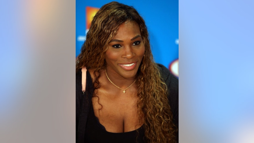 Serena Williams of the United States speaks during a press conference ahead of the Australian Open tennis championship in Melbourne, Australia, Saturday, Jan. 11, 2014. (AP Photo/Aaron Favila)