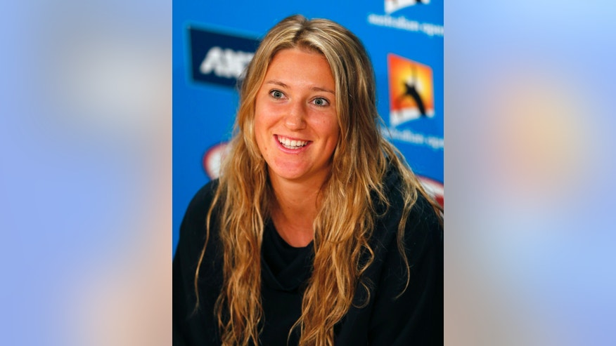 Victoria Azarenka of Belarus speaks during a press conference at the Australian Open tennis championship in Melbourne, Australia, Sunday, Jan. 12, 2014. (AP Photo/Shuji Kajiyama)