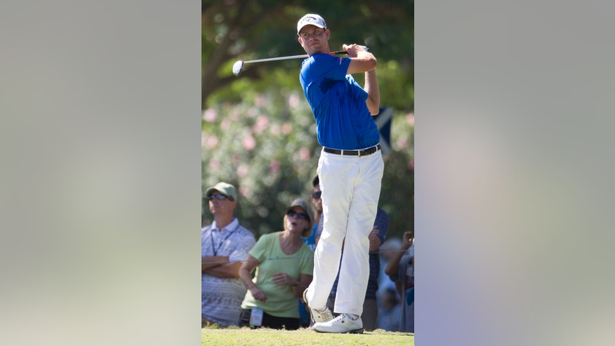 Harris English watches his drive off the second tee during the fourth round of the Sony Open golf tournament at Waialae Country Club, Sunday, Jan. 12, 2014, in Honolulu. (AP Photo/Eugene Tanner)