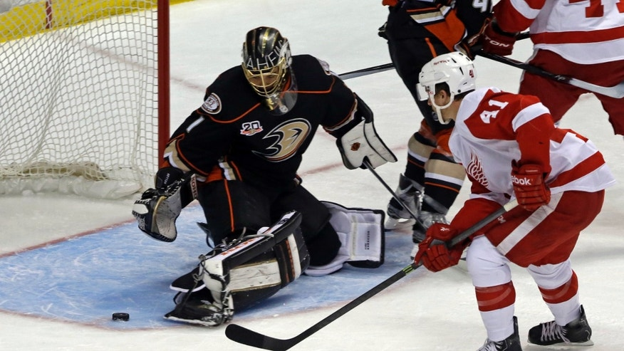 Anaheim Ducks goalie Jonas Hiller (1), of Switzerland, defends against Detroit Red Wings center Luke Glendening (41) in the first period of an NHL hockey game in Anaheim, Calif., Sunday, Jan. 12, 2014. (AP Photo/Reed Saxon)