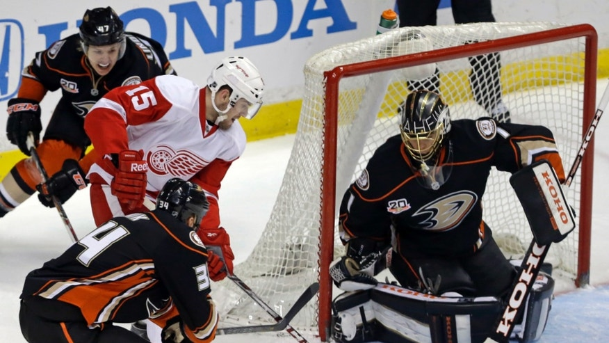 Anaheim Ducks goalie Jonas Hiller (1), of Switzerland, defends as Detroit Red Wings center Riley Sheahan (15) moves the puck in the first period of an NHL hockey game in Anaheim, Calif., Sunday, Jan. 12, 2014. (AP Photo/Reed Saxon)