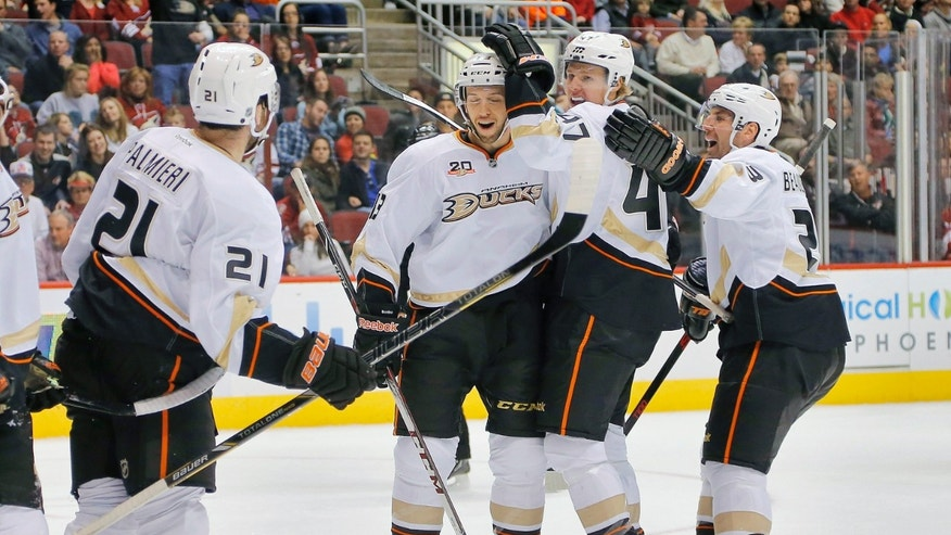 Anaheim Ducks' Hampus Lindholm (47) celebrates his goal with teammates Nick Bonino, right, Francois Beauchemin and Kyle Palmieri (21) against the Phoenix Coyotes during the first period of an NHL hockey game, Saturday, Jan. 11, 2014, in Glendale, Ariz. (AP Photo/Matt York)