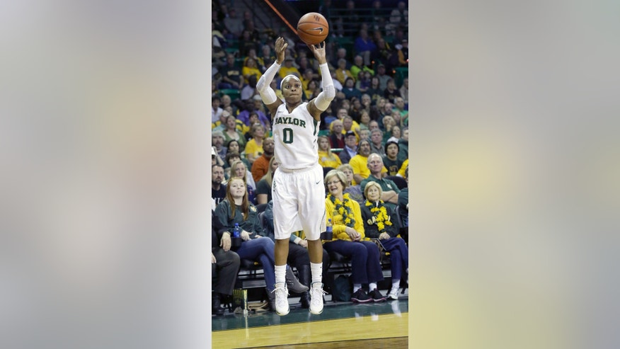 Baylor guard Odyssey Sims (0) shoots during the first half of an NCAA college basketball game, Saturday, Jan. 11, 2014, in Waco, Texas. (AP Photo/LM Otero)