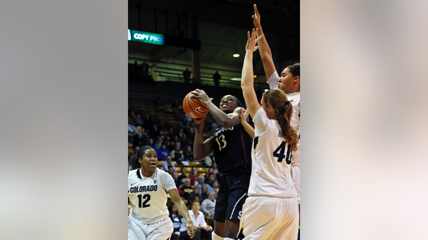 Stanford's Chiney Ogwumike shoots against Colorado during an NCAA college basketball game, in Boulder, Colo., Sunday, Jan. 12, 2014. Stanford went on to win 87-77. (AP Photo/Brennan Linsley)