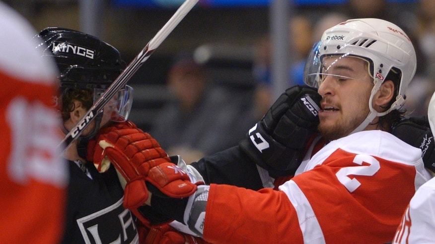 Los Angeles Kings center Colin Fraser, left, and Detroit Red Wings defenseman Brendan Smith rough each other during the second period of an NHL hockey game, Saturday, Jan. 11, 2014, in Los Angeles. (AP Photo/Mark J. Terrill)