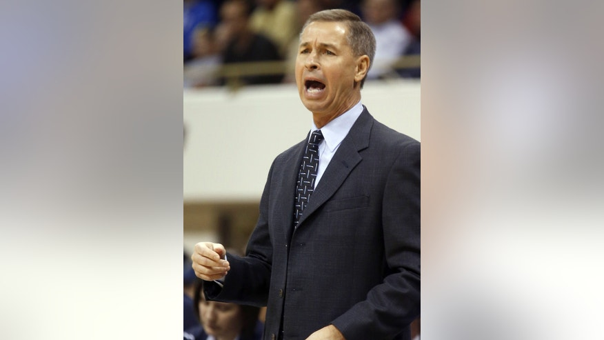 Wake Forest head coach Jeff Bzdelik yells to his team in the first half of an NCAA college basketball game against Pittsburgh on Saturday, Jan. 11, 2014, in Pittsburgh. Pittsburgh won 80-65. (AP Photo/Keith Srakocic)