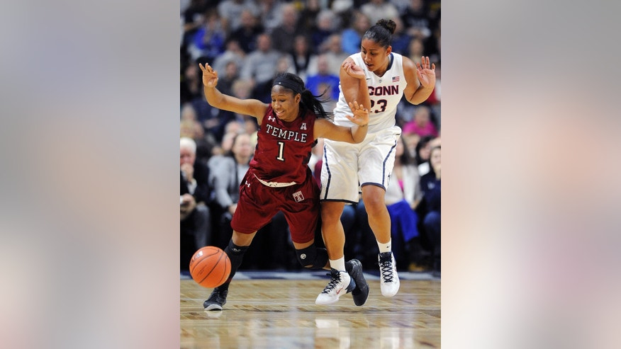 Temple's Erica Covile (1) and Connecticut's Kaleena Mosqueda-Lewis (23) fight for a loose ball during the first half of an NCAA college basketball game in Bridgeport, Conn., Saturday, Jan. 11, 2014. (AP Photo/Fred Beckham)