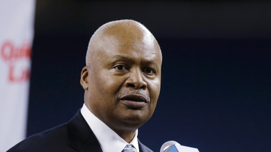 New Detroit Lions head coach Jim Caldwell addresses the media at Ford Field in Detroit, Wednesday, Jan. 15, 2014. Caldwell previously was the Baltimore Ravens quarterbacks coach and offensive coordinator. (AP Photo/Carlos Osorio)