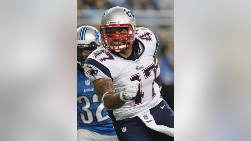 FILE - New England Patriots tight end Michael Hoomanawanui (47) is seen in the second quarter of an NFL preseason football game against the Detroit Lions in Detroit, in this Thursday, Aug. 22, 2013 file photo. (AP Photo/Duane Burleson, File)