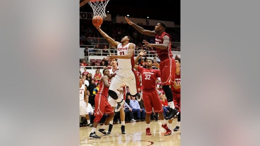 Stanford 's Anthony Brown (21) scores against Washington State during the second half of an NCAA college basketball game Wednesday, Jan. 15, 2014, in Stanford, Calif. (AP Photo/Marcio Jose Sanchez)