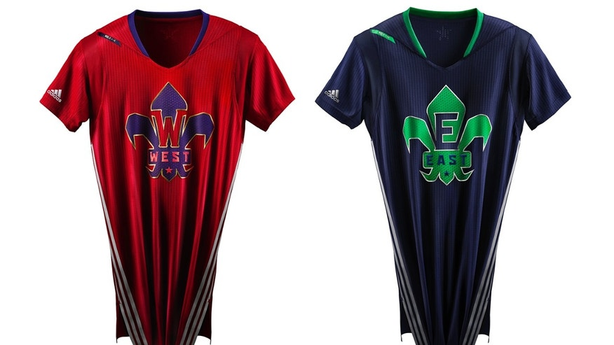 This image provided by the NBA on Thursday, Jan. 16, 2015, shows the West, left, and East team jerseys to be worn in the 2014 NBA All Star basketball game. The 63rd NBA All-Star Game is scheduled for Feb. 16, in New Orleans. (AP Photo/NBA)