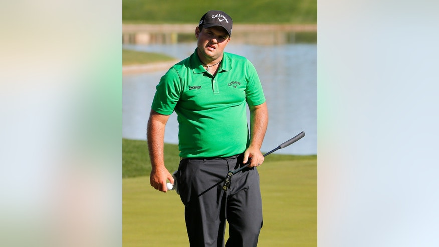 Patrick Reed looks toward the gallery after his putt on the fourth green during the first round of the Humana Challenge PGA golf tournament on the Palmer Private course at PGA West, Thursday, Jan. 16, 2014, in La Quinta, Calif. (AP Photo/Matt York)