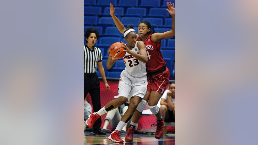 Arizona's Erica Barnes (23) maneuvers against Stanford's Erica McCall for a shot in the first half of an NCAA college basketball game on Friday, Jan. 17, 2014, in Tucson, Ariz. (AP Photo/John Miller)