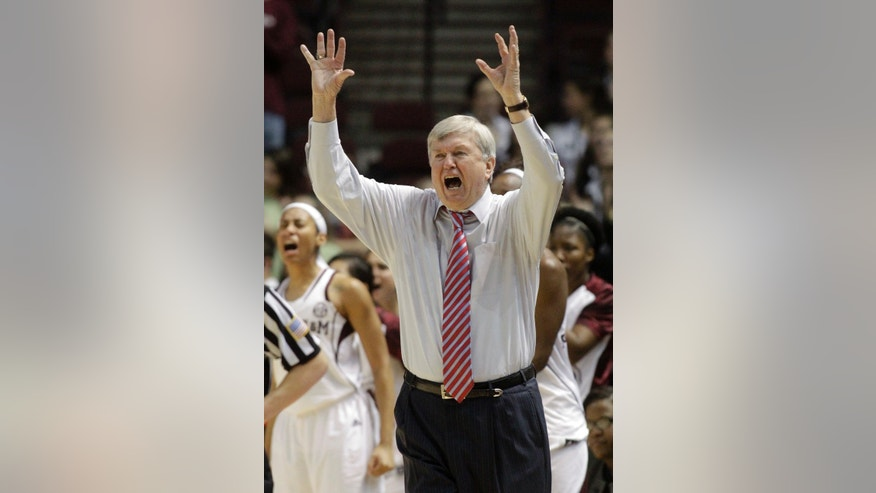 Texas A&M coach Gary Blair gestures during the second half of an NCAA college basketball game against South Carolina, Thursday, Jan. 16, 2014, in College Station, Texas. Texas A&M defeated South Carolina 67-65 in overtime. (AP Photo/Patric Schneider)
