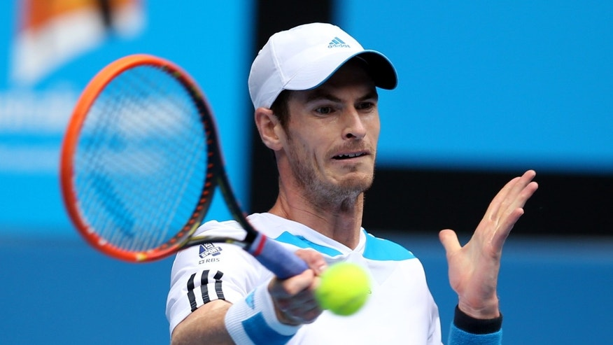 Andy Murray of Britain makes a forehand return to Feliciano Lopez of Spain during their third round match at the Australian Open tennis championship in Melbourne, Australia, Saturday, Jan. 18, 2014.(AP Photo/Rick Rycroft)