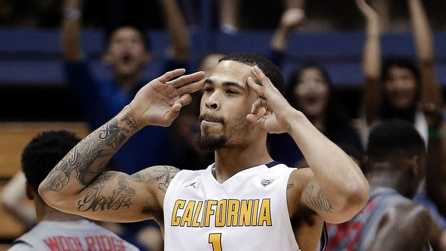 California's Justin Cobbs celebrates a score against Washington State during the first half of an NCAA college basketball game Saturday, Jan. 18, 2014, in Berkeley, Calif. (AP Photo/Ben Margot)