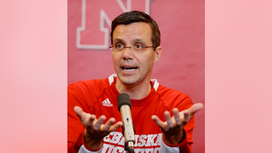 Nebraska men's basketball coach Tim Miles discusses the state of his team during an NCAA college basketball news conference in Lincoln, Neb., Thursday, Jan. 16, 2014. (AP Photo/Nati Harnik)