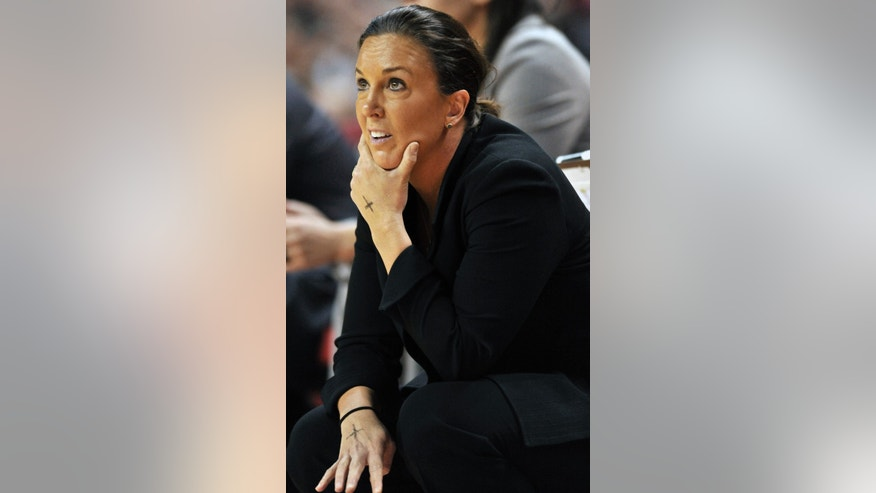 Georgia Tech's head coach MaChelle Joseph watches her team in the first half of an NCAA college basketball game against Maryland, Sunday, Jan. 19, 2014, in College Park, Md. Maryland won 92-81.,((AP Photo/Gail Burton)