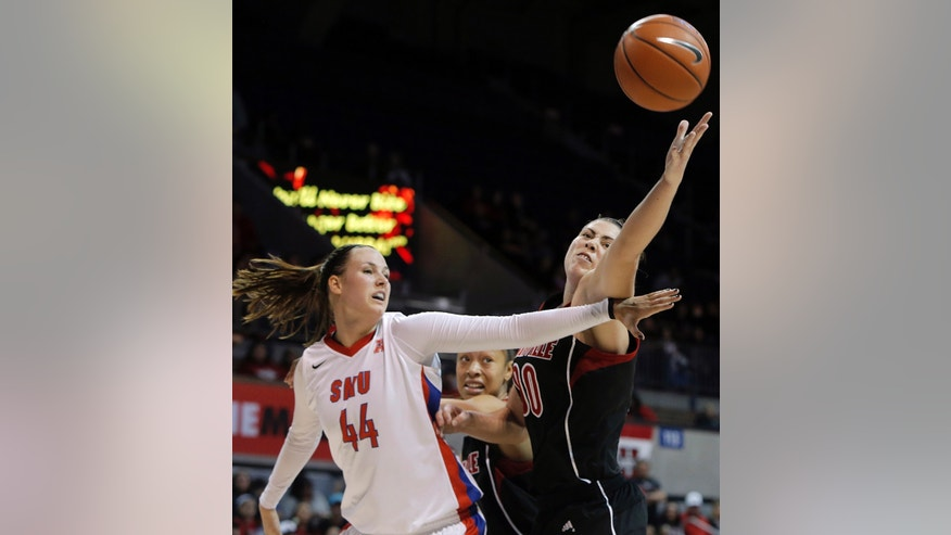 SMU guard Mallory Singleton (44) and Louisville forward Sara Hammond (00) battle for a rebound in the first half of an NCAA college basketball game on Sunday, Jan. 19, 2014, in Dallas. (AP Photo/Brandon Wade)