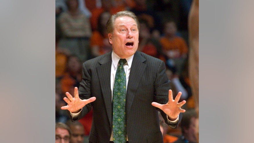 Michigan State coach Tom Izzo reacts during his team's NCAA college basketball game against Illinois in Champaign, Ill., on Saturday, Jan. 18, 2014. (AP Photo/Robin Scholz)