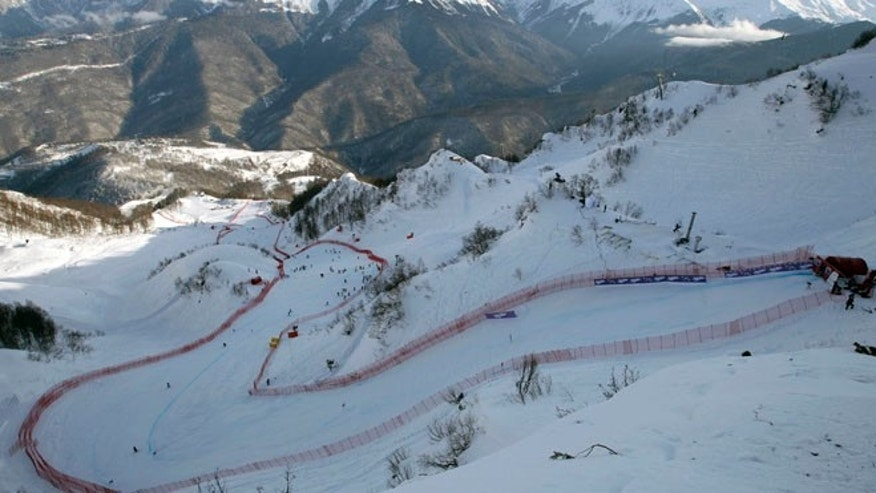 Feb. 10, 2012: This file photo shows the Rosa Khutor downhill Olympic course prior to an alpine ski, men's World Cup downhill training session for the 2014 Sochi Olympics, in Sochi, Russia. The Sochi Games begin Feb. 7.