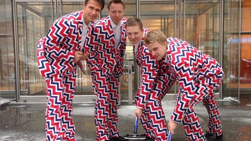 Jan. 21, 2014: In this image provided by Loudmouth Golf,  members of the Norway's Men's Olympic Curling Team from left Thomas Ulsrud, Torgor Nergard, Christoffer Svae, and Havard Vad Petersson wear their new Sochi 2014 suits as they pose for a photographer in New York.