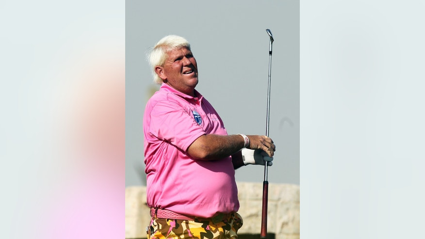 John Daly of the USA during the second round of the Commercial Bank Qatar Masters at the Doha Golf Club in Doha, Qatar, Thursday, Jan. 23, 2014. (AP Photo/Osama Faisal)