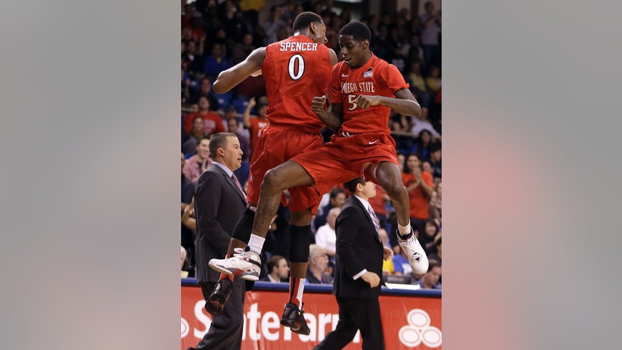 San Diego State's Skylar Spencer (0) and Dwayne Polee II, right, celebrate during a time out in the second half of an NCAA college basketball game against San Jose State Wednesday, Jan. 22, 2014, in San Jose, Calif. (AP Photo/Ben Margot)