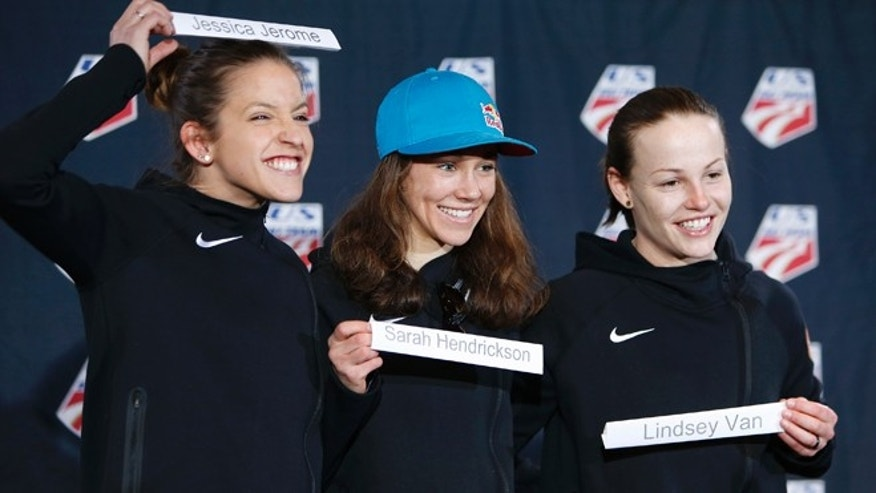 Jan. 22, 2014: From left, Jessica Jerome, Sarah Hendrickson and Lindsey Van clown around as they are announced as the U.S. women's ski jumping team at the Utah Olympic Park in Park City, Utah. They will shortly leave for the Olympics in Sochi.